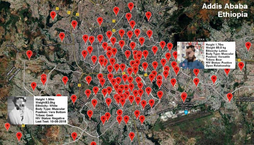 Grindr Location Map on